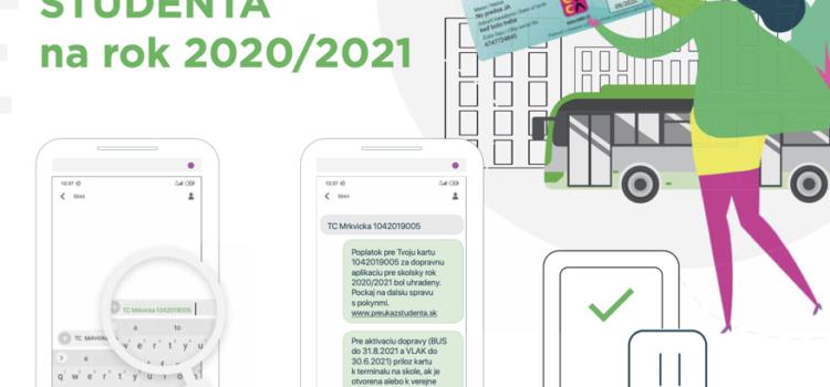 """Informácie k ISIC preukazom – """"Predĺž si platnosť zľavy na dopravu na Preukaze študenta na rok 2020/2021."""""""